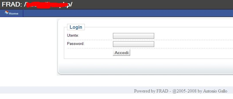 FRAD login screen