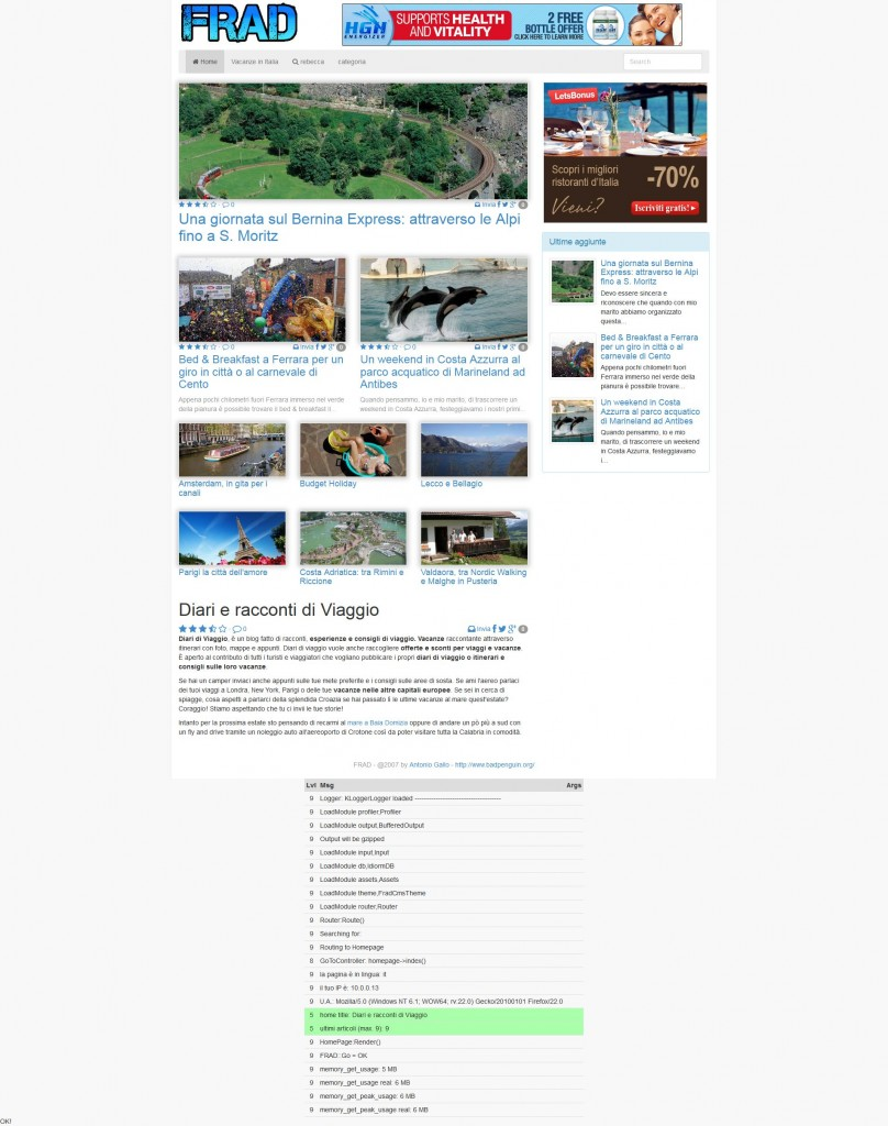 example of a wordpress like blog with FRAD V.2